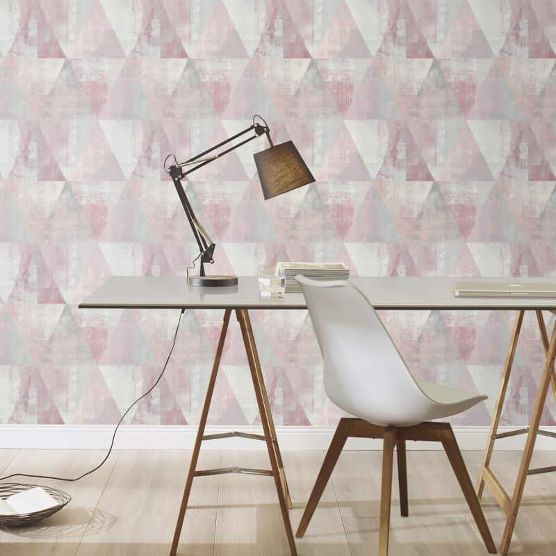 n41088938r Funky pink geometric design for a modern feature wall. 'Easy hang', paste the wall, matt finish washable vinyl.