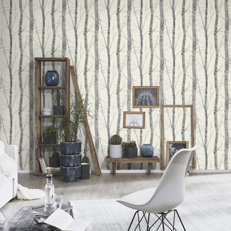 n54300347e Contemporary and fashionable tree design in soft ivory and grey with glitter highlights. Paste the wall.