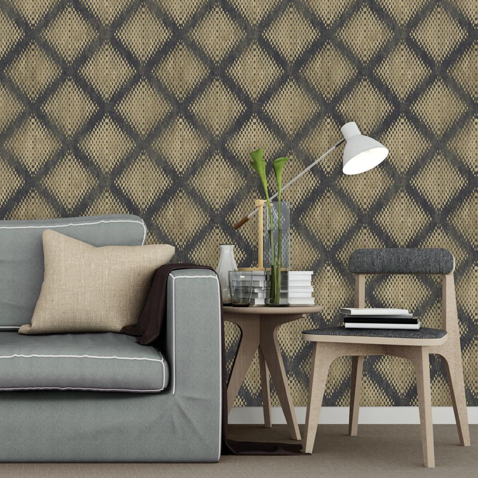 n6006602m Funky and modern metallic geometric in black and gold. Paste the wall.