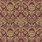 n63711806e Maroon and gold floral on paste the wall vinyl.