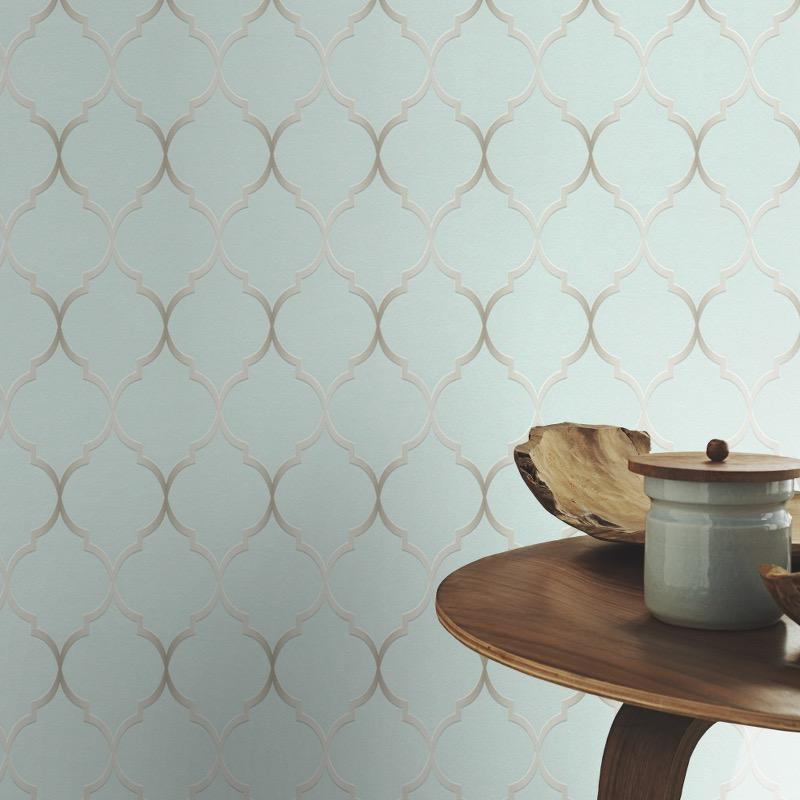n70111616r An elegant 'ribbon trellis' effect in duck egg. Fabulous, non-woven, paste the wall, product.