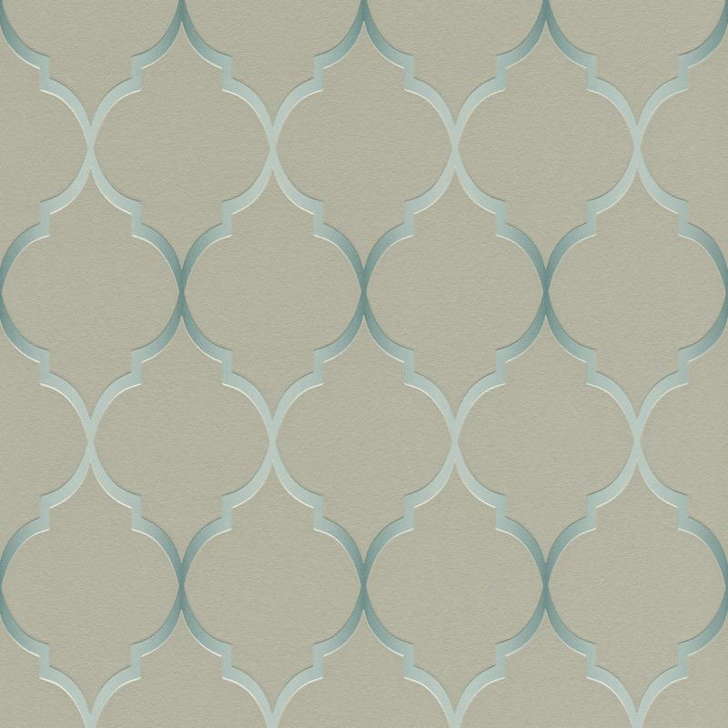 n70122623r An elegant 'ribbon trellis' effect in taupe with a hint of duck egg. Fabulous, non-woven, paste the wall, product.