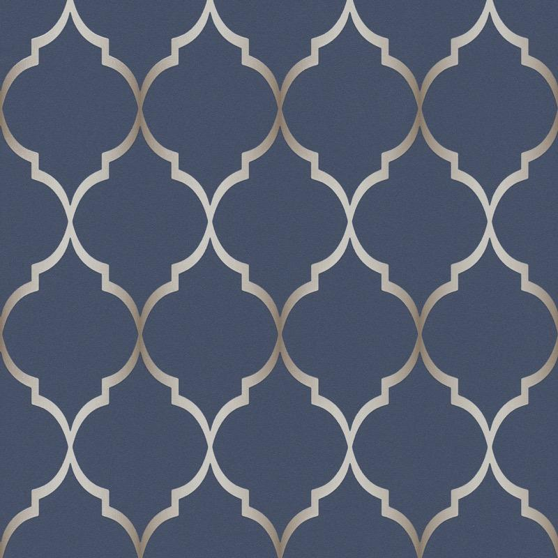 n70144647r An elegant 'ribbon trellis' effect in navy blue. Fabulous, non-woven, paste the wall, product.
