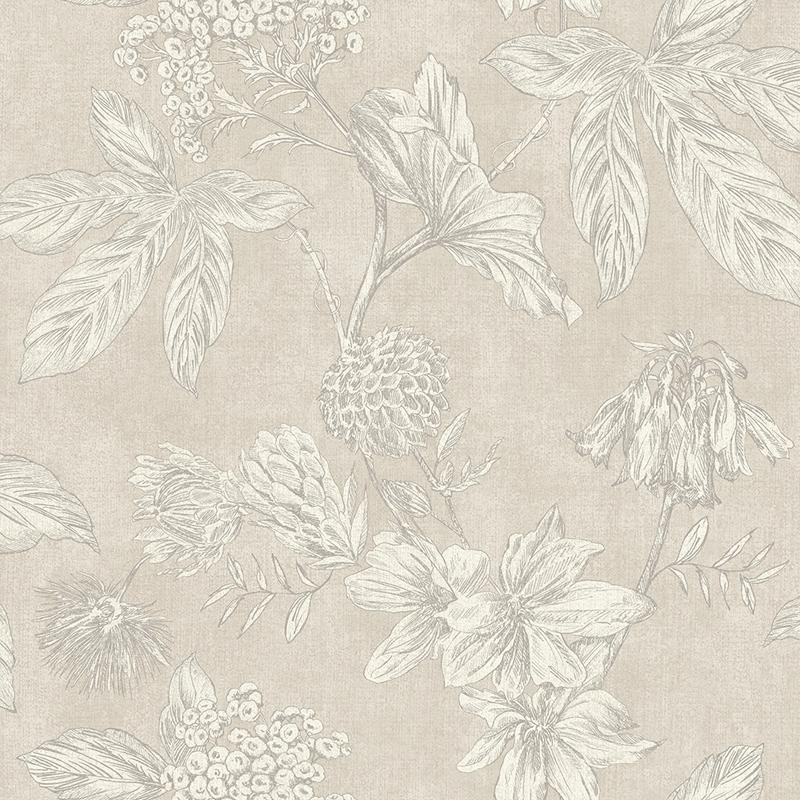 n90200701a A vintage floral wallpaper, outlined with metallic gold highlights, with a subtle cream background. Paste the wall.