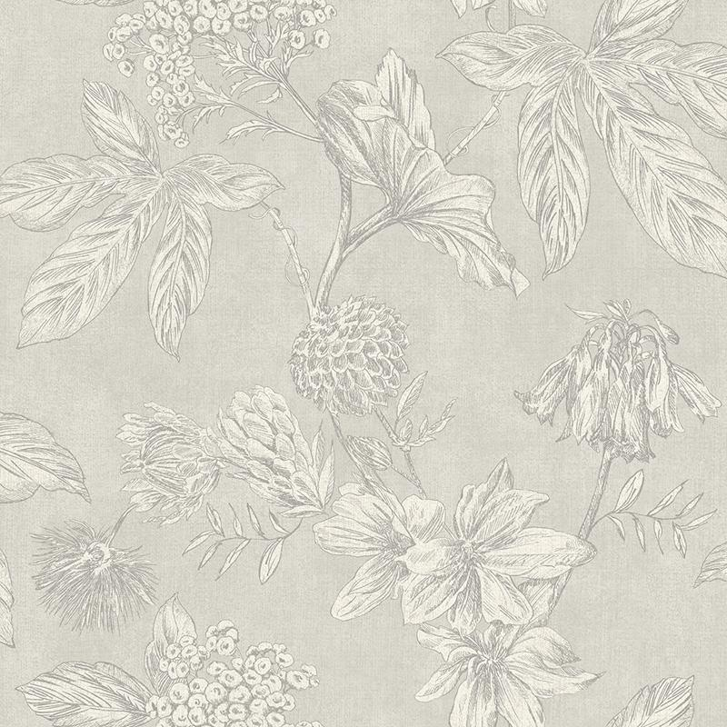 n90200702a A vintage floral wallpaper, outlined with metallic grey highlights, with a subtle silver background. Paste the wall.