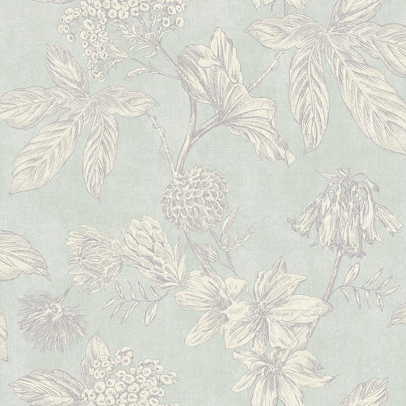 n90200703a A vintage floral wallpaper, outlined with metallic grey highlights, with a subtle duck egg background. Paste the wall.