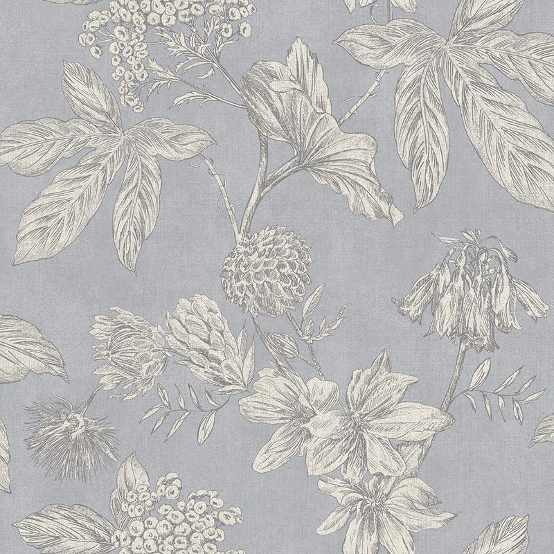 n90244600a A vintage floral wallpaper, outlined with metallic grey highlights, with a subtle blue background. Paste the wall.