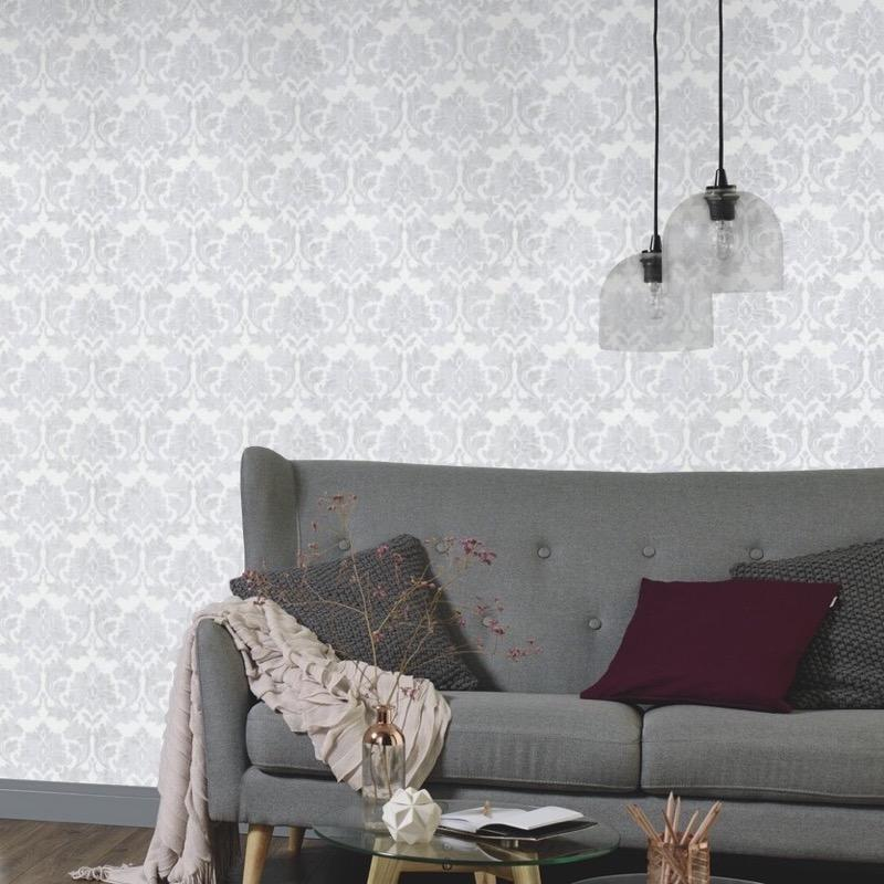 nv100700031e Beautiful and timeless damask design on paste the wall vinyl.