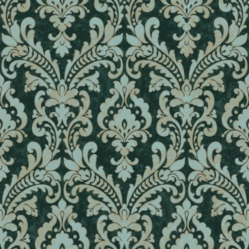 nv21955174d Beautifully elegant, classical damask on a rich green background. Superior quality, paste the wall vinyl.