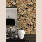 nv22033023d Fabulously dramatic feature floral on a black backdrop. Superior quality, paste the wall vinyl.