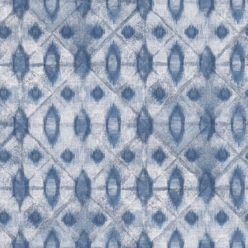 nv307702g Stylish and modern geometric tie-dye shibori design in navy. Perfect for a feature wall. 'Easy hang' paste the wall, matt vinyl.