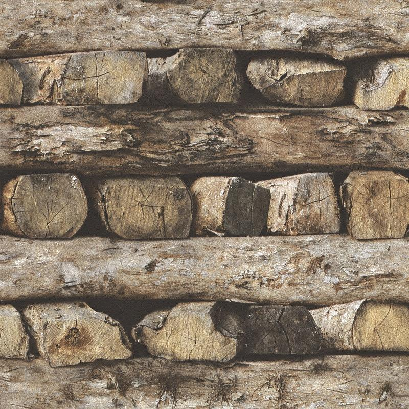 nv93133808r 3D photo real. Rustic log cabin wall effect on fully washable 'paste the wall' matt finish vinyl. easyhang, great jointing and easy strip