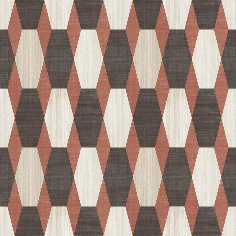 v2033310m Tasteful geometric feature in burnt orange, beige and brown