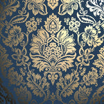 v4257764f Elegant metallic gold damask on a rich navy background.
