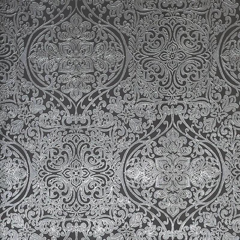 v90300309a Paste the wall metallic damask with metallic silver on a charcoal grey background.