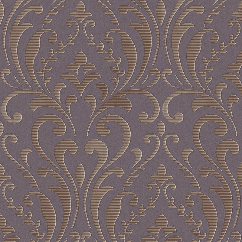 vh1899804si Beautiful modernised damask on engraved vinyl from Milan. Satin finish style statement in rich furnishing colours.