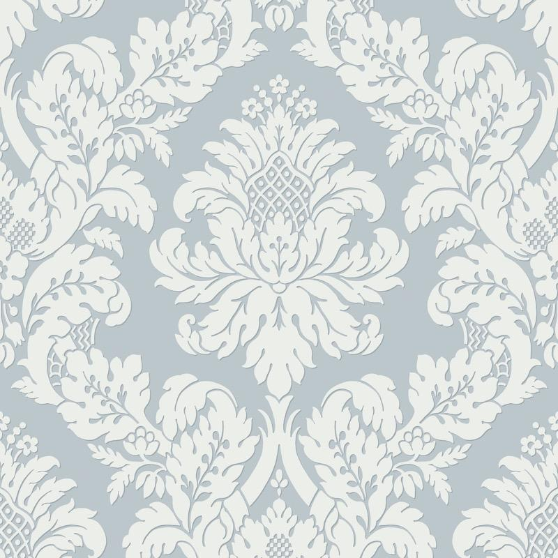 vs1077482pt Light Sapphire blue damask wallpaper. Classical elegance and the ultimate in fashionable fusion with a light dusting of glitter over the brighter area