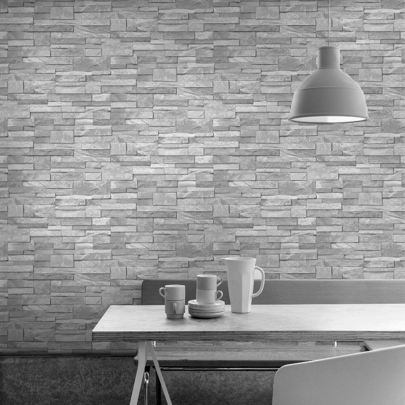 vs1700202g Hi Quality, realistic 3D photo-real, fully washable, matt finish, stone brick effect vinyl. Harder wearing for high traffic areas, also suitable for kitchens and bathrooms