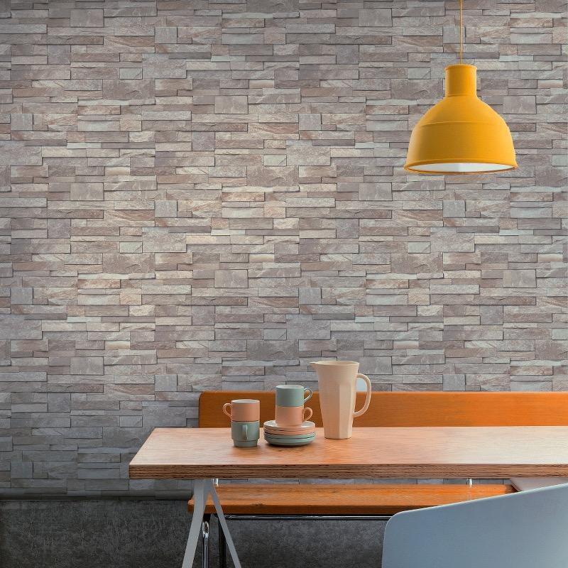 vs1733204g Hi Quality, realistic 3D photo-real, fully washable, matt finish, stone brick effect vinyl. Harder wearing for high traffic areas, also suitable for kitchens and bathrooms