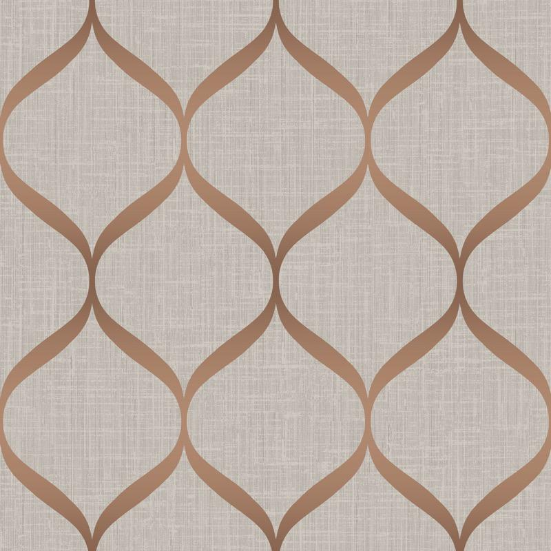 vs2133201pt An elegant 'timeless trellis' designer wallpaper has a matted linen background and a pearl finish curve, in rose gold