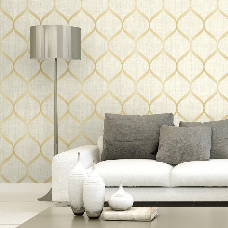 vs2166205pt An elegant 'timeless trellis' designer wallpaper has a matted linen background and a pearl finish curve, in soft gold and cream