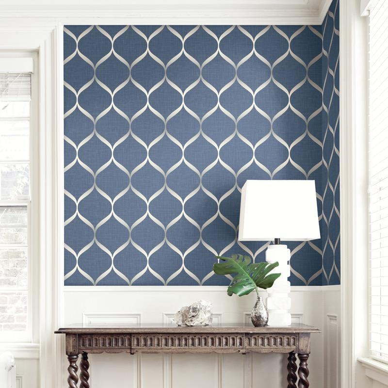 vs2177202pt An elegant 'timeless trellis' designer wallpaper has a matted linen background and a pearl finish curve, in rich blue
