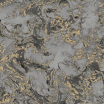 vs7900809m Dramatic marble effect, non-woven vinyl in black with gold metallic detail.