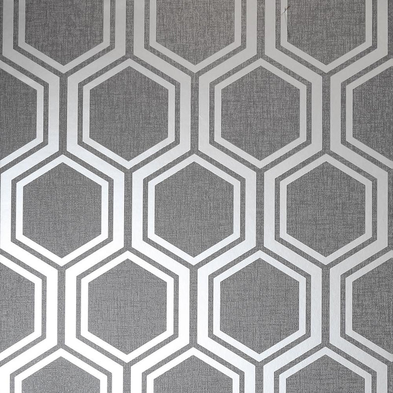 vs90600601a An elegant and contemporary geometric design with silver metallic hexagons on a matt grey background.