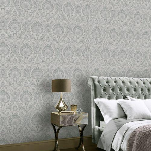 vs90600609a The timeless damask design with a modern twist. A beautiful shimmering silver damask pattern on a grey textured background.