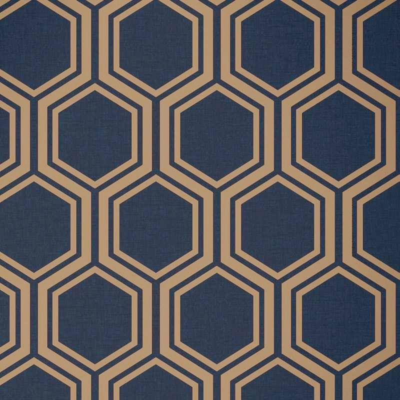 vs90677604a An elegant and contemporary geometric design with gold metallic hexagons on a matt navy blue background.