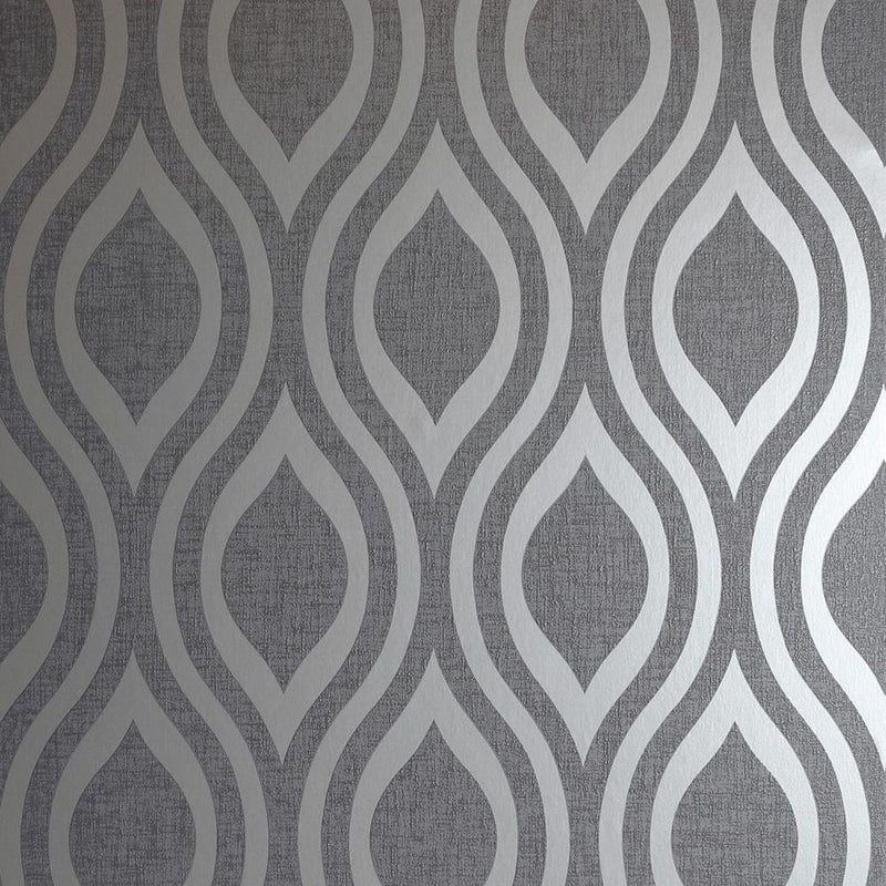 vs91000202a A modern geometric design in a silver metallic finish with a contrasting charcoal grey matt background.