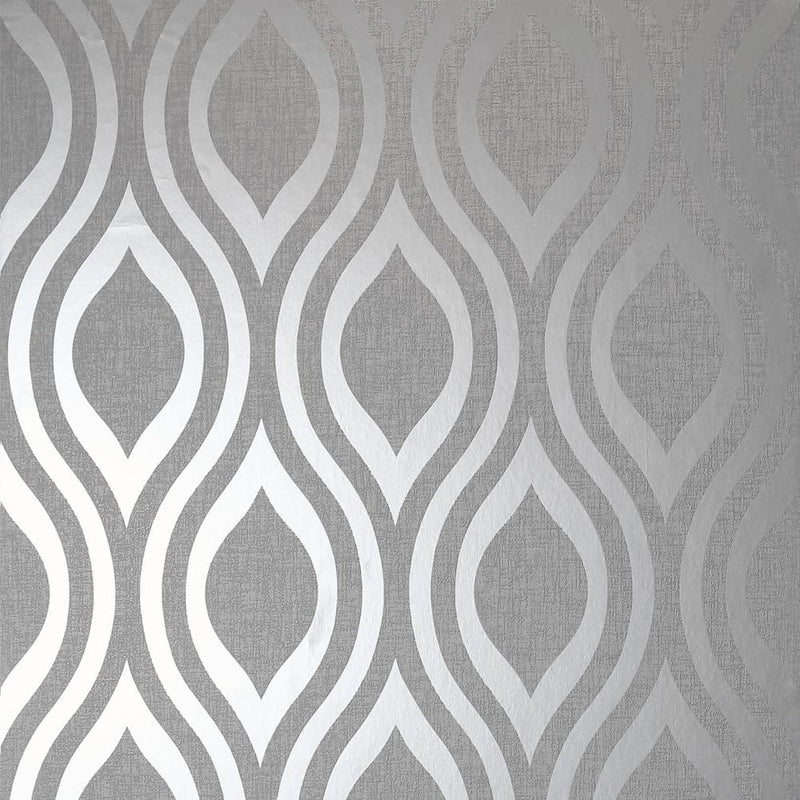 vs91000204a A modern geometric design in a silver metallic finish with a contrasting grey matt background.