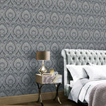 vs91000307a The timeless damask design with a modern twist. A beautiful shimmering silver damask pattern on a charcoal grey textured background.