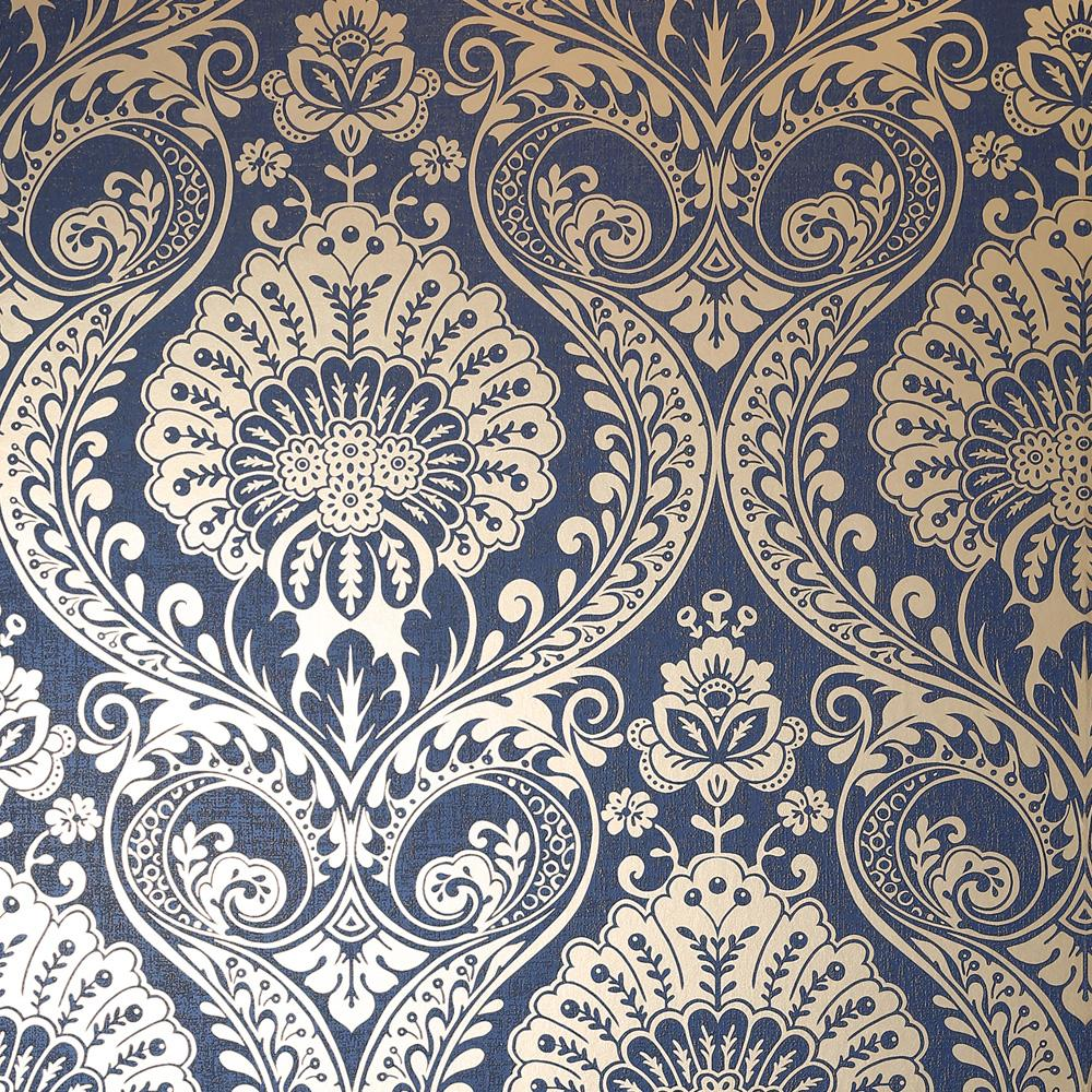 vs91077308a The timeless damask design with a modern twist. A beautiful shimmering gold damask pattern on a deep navy blue textured background.