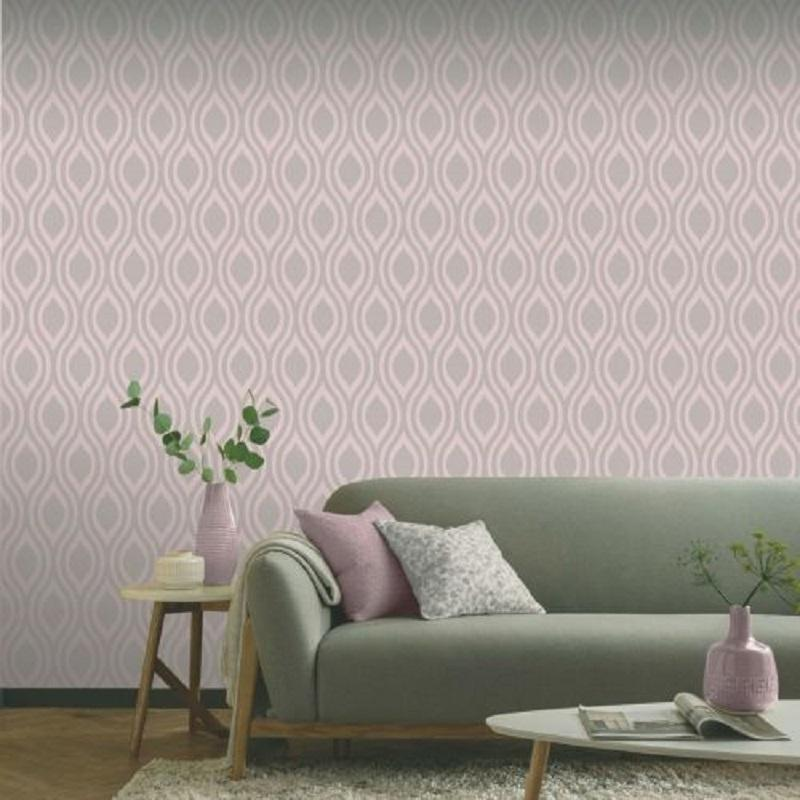 vs91088201a A modern geometric design in a dusky pink metallic finish with a contrasting grey matt background.