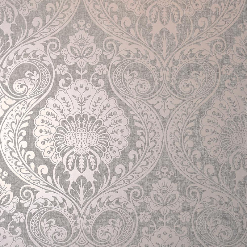 vs91088306a The timeless damask design with a modern twist. A beautiful shimmering dusky rose damask pattern on a textured background.