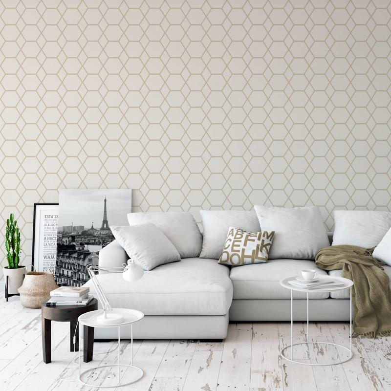 w14744502m Fabulous geometric feature wallpaper in cream and gold