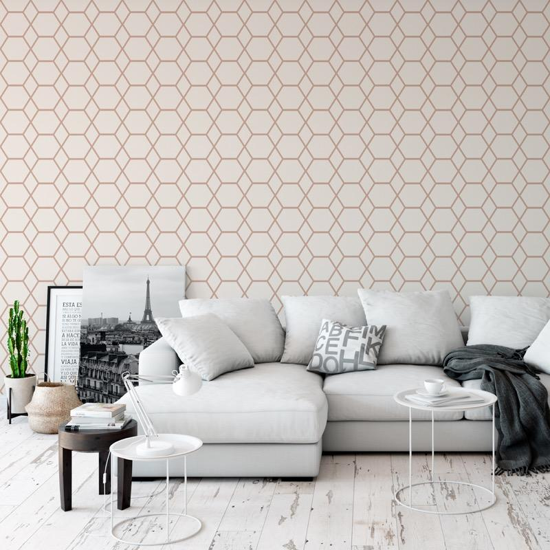 w14766504m Fabulous geometric feature wallpaper in cream and rose gold