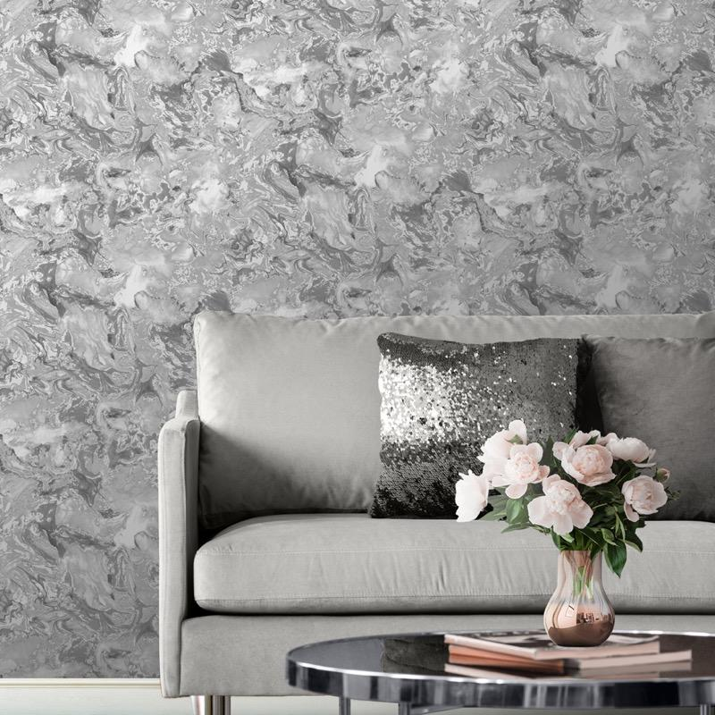 w16600501m Fabulous shimmering oil on water marbled effect in multitone silvers and greys