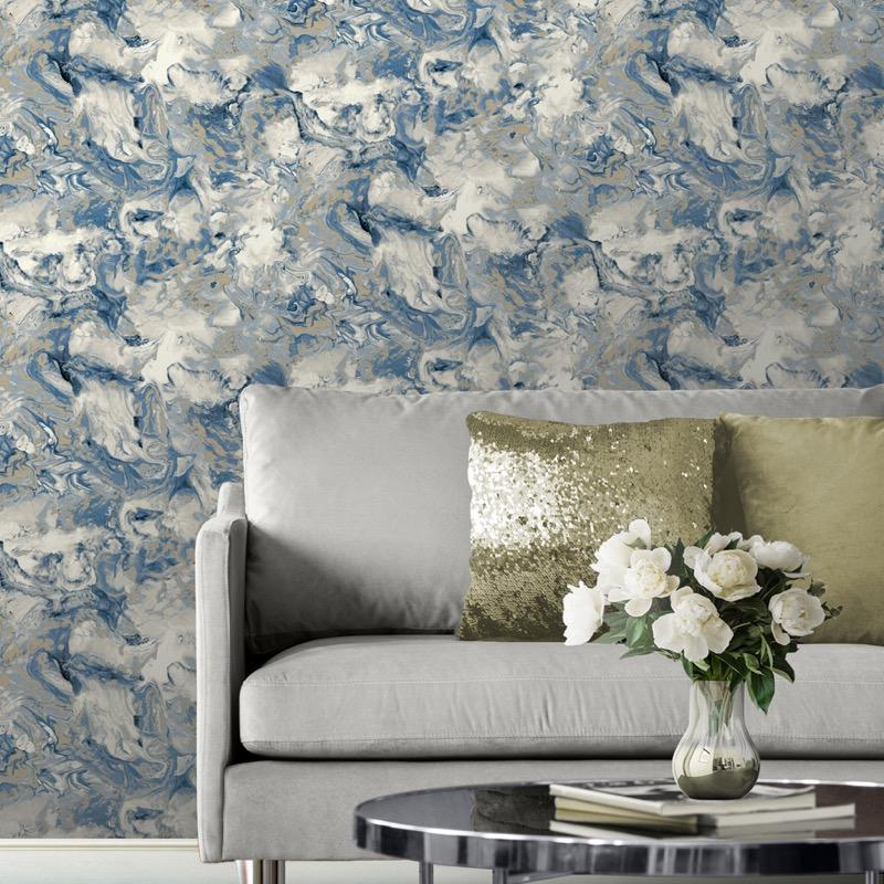 w16677504m Fabulous shimmering oil on water marbled effect in multitone blue ivory and greys