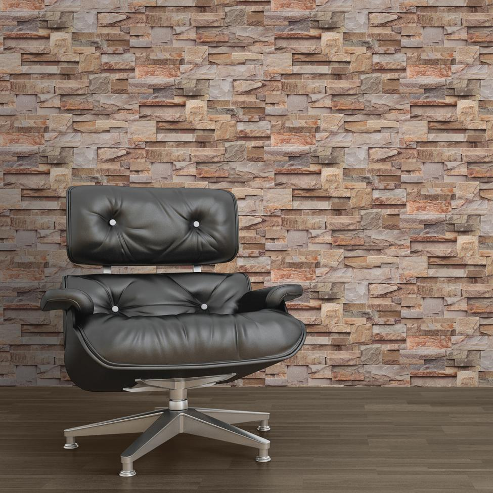 w1844437m Fabulous 3D stone brick effect wallpaper