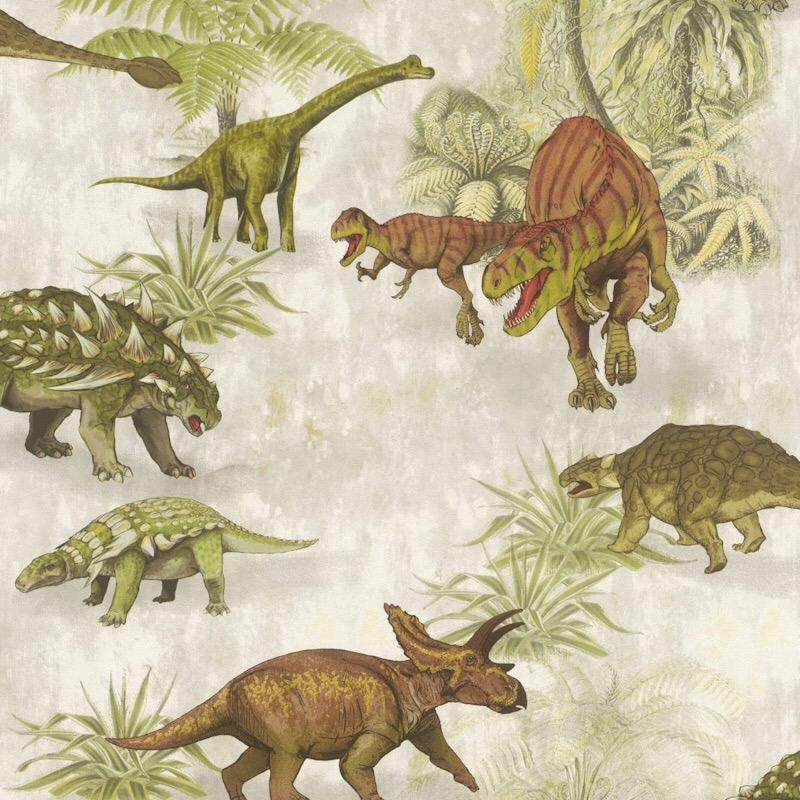 w21255808r Green and brown dinosaur forest wallpaper.