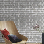 w21300607r Rustic, warm grey, photorealistic brick effect, for that New York loft look.