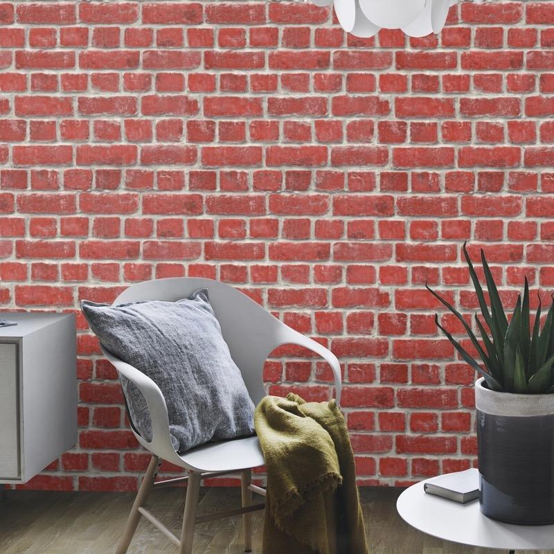 w21311614r Photoreal rustic red brick effect wallpaper