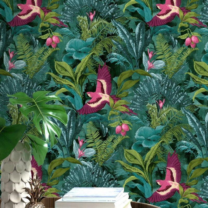 w21455727r Beautiful and stylish tropical rainforest themed wallpaper.