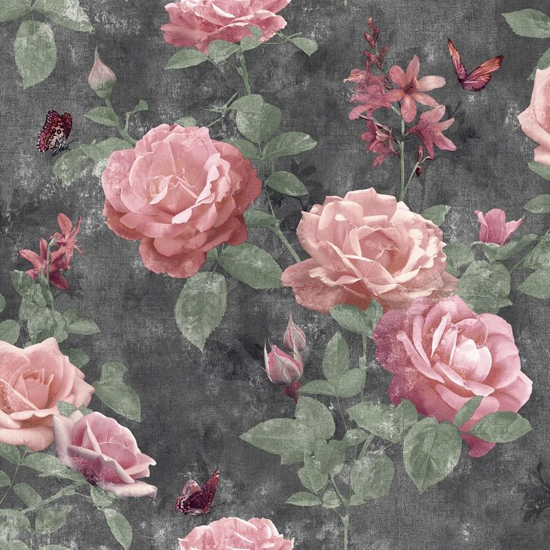 w21555014r Beautiful dramatic floral in pink on a grey background