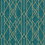 w21555137r Designer trellis effect in a teal with metallic gold detail