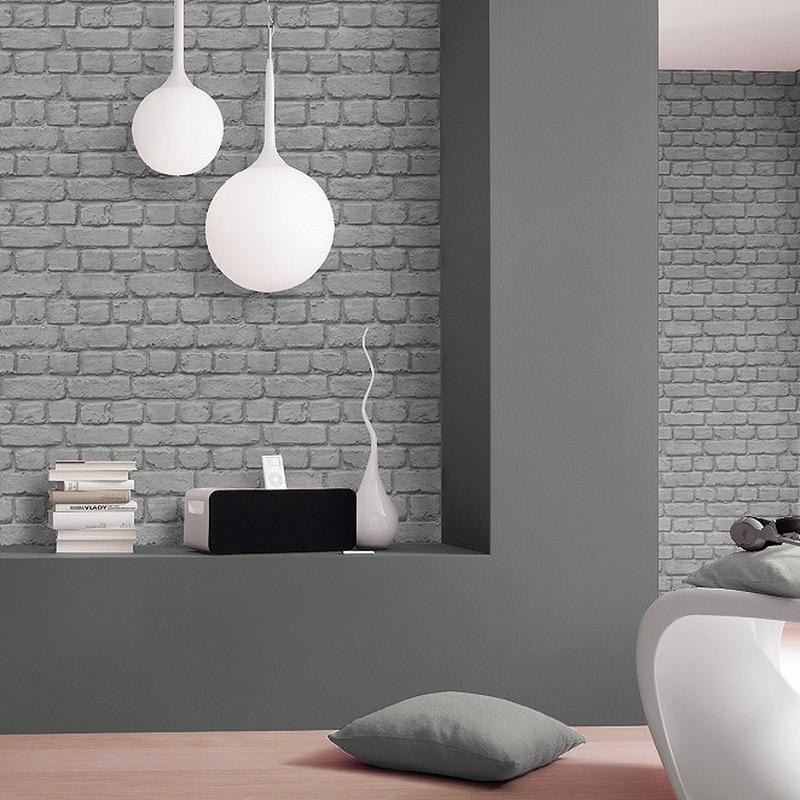 w22600720r Rustic 3D brick effect wallpaper in grey