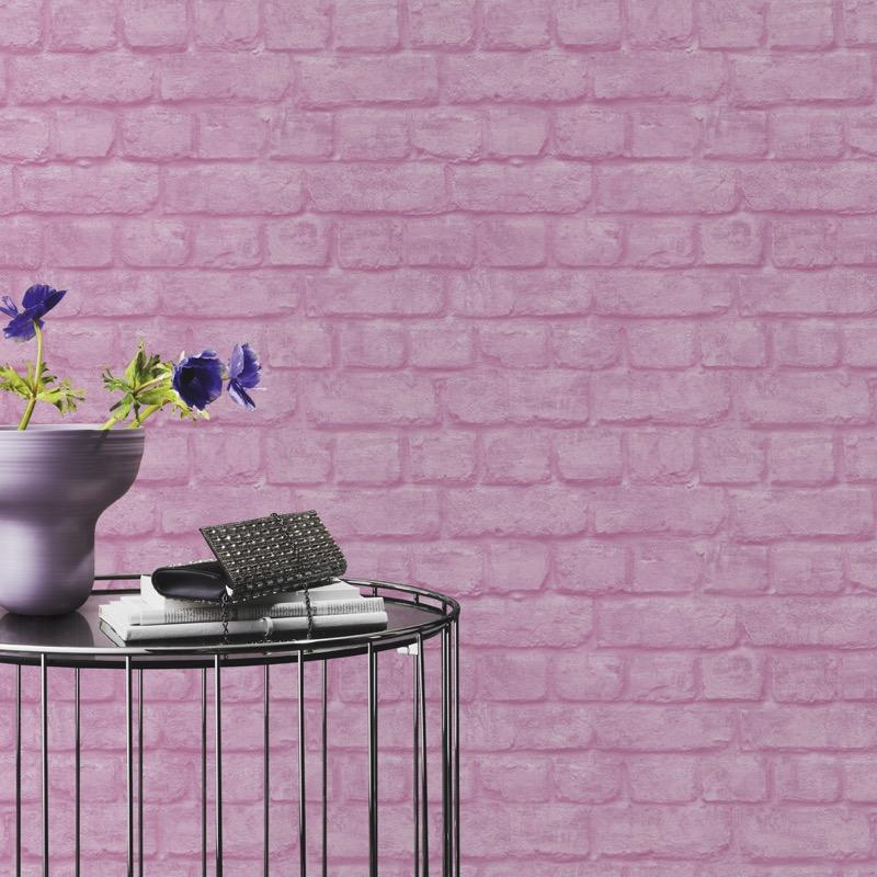 w22600805r Fun, colourful, pink effect brick wallpaper