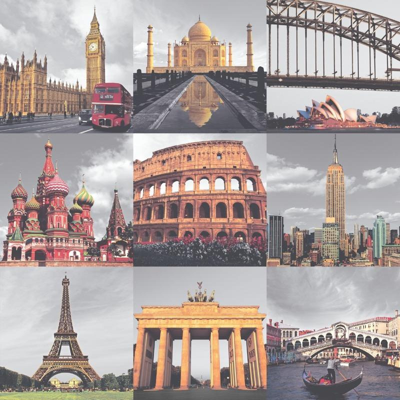 w23533708r Colourful cityscapes collage. Cities of the world feature wallpaper